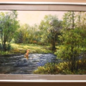 Oil painting of a fly fisherman by Janet Loveless