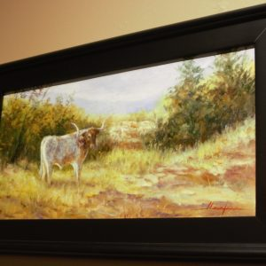 Oil painting of a longhorn in a field by Janet Loveless