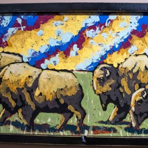 Summer Pasture oil painting of bison by Mikel Davison