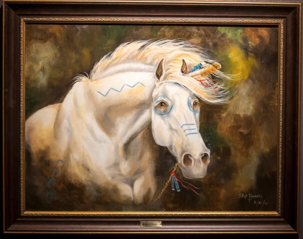 Oil painting of white horse by Skip Rowell