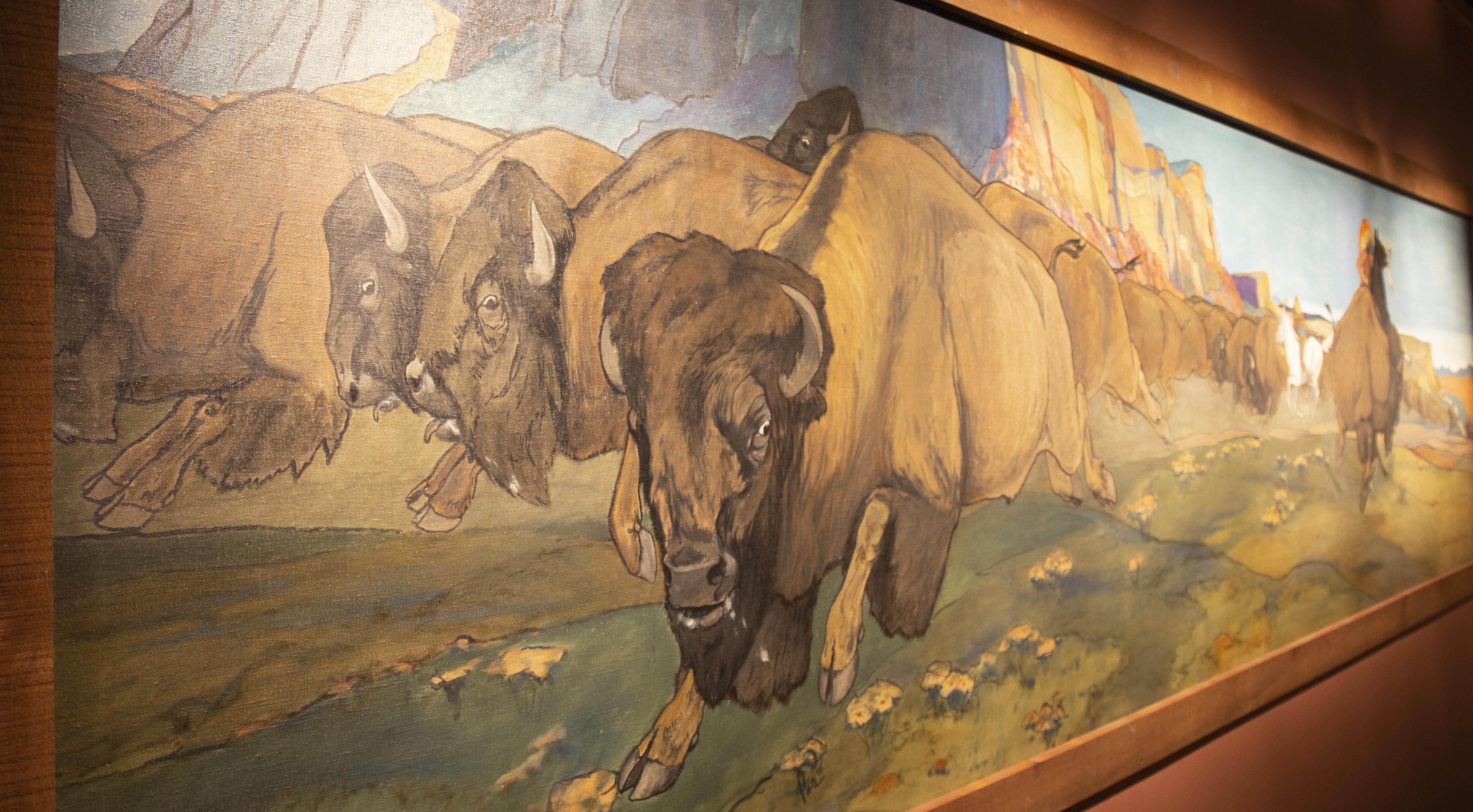 Painting of a buffalo hunt iin the Garis Gallery