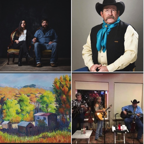 Cowboy Opry Band, cowboy poet Jay Snider, Clancy and Jilli Jones of Cactus and Petal, and local artist Lou Baggett