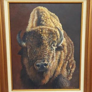 Bison oil painting by Patricia Lassiter