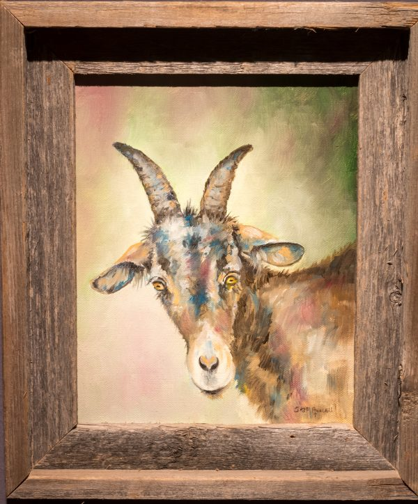Oil painting of goat by Skip Rowell