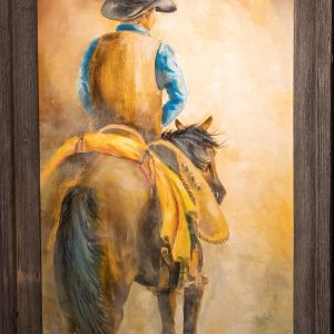 Oil painting of cowboy on a horse by Skip Rowell
