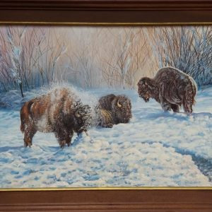 Bisons in the snow oil painting by Patricia Lassiter