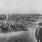 Horses and wagons starting the land run