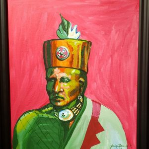 Acrylic painting of Osage warrior by Joe Don Brave