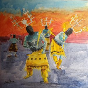 Acrylic painting of Native American crown dancers by Joe Don Brave