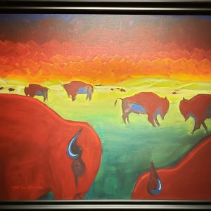 Giclee print of bison on the prairie by Joe Don Brave