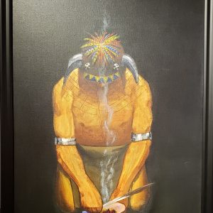 Giclee print of Native American giving thanks for bison by Joe Don Brave