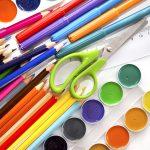 Colored pencils, water color paint , scissors